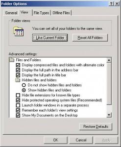 correct folder options