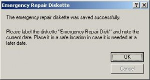 emergency repair disk created